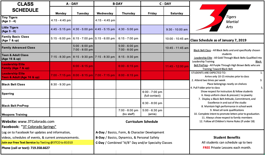 Karate Schedule Colorado Springs